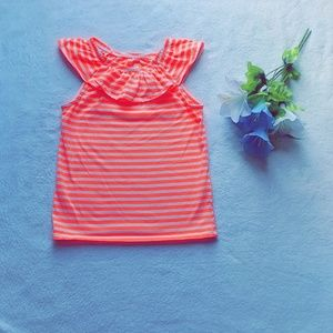 Other - 🦋Girls coral stripped w/ ruffled neck top🦋